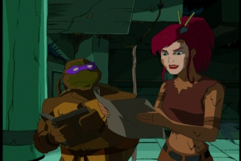 "TMNT (2003) Episode 2.21: ""April's Artifact"".  Normally, shredding a female character's clothes and forcing her to take a mudbath means that producers are pandering to the male gaze. This being 4Kids, however, it feels more half-hearted than anything else."